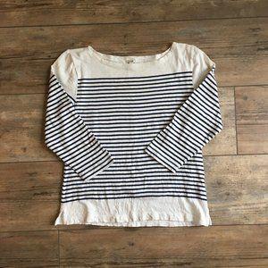 J. Crew Navy and White Striped Shirt Size Medium
